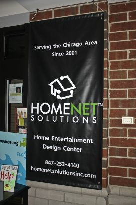 Homenet Solutions. Interior banner to bring attention to store front.