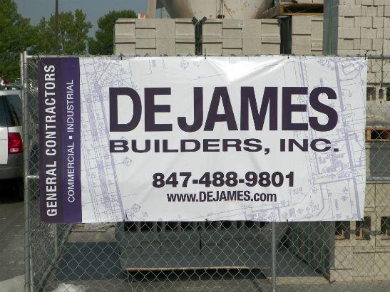 DeJames Builders Inc.  Full color temporary construction site banner.