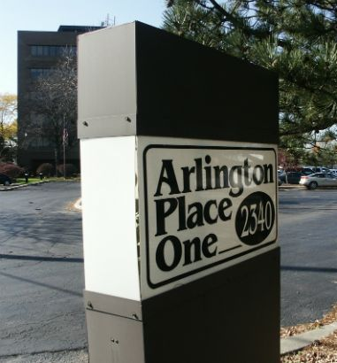 Arlington Place One.  Building identification lighted sign.
