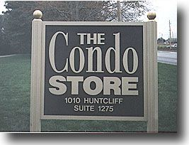 The Condo Store.  Sand-blasted with custom frame and painted letters.