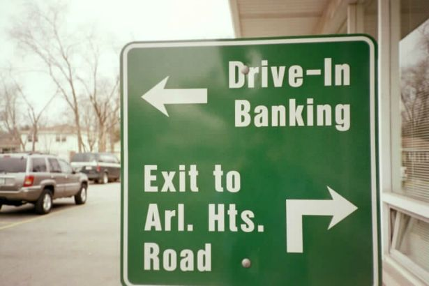 Village Bank Arlington Heights.  Aluminum directional sign to show customers the way.