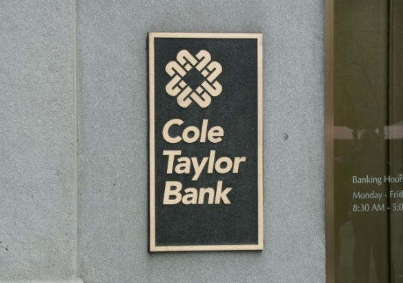 Cole Taylor Bank.  Raised letters in brass.