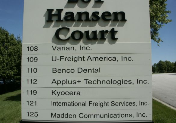 Hansen Court Arlington Heights.  Tenant monument sign at ground level.