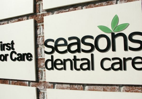 Seasons Dental Care Arlington Heights.  Dimensional Lettering on a tenant sign.