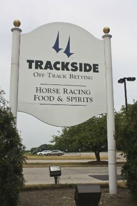 Arlington Trackside, Arlington Heights.  8ft by 8ft custom routed restaurant sign.