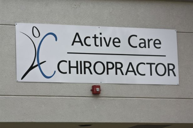 Active Care Chiropractor Arlington Heights. Vinyl Graphics on an aluminum sign.