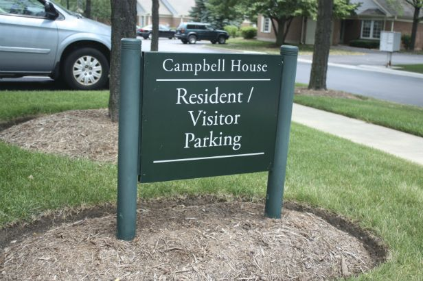 Luther Village Arlington Heights.  Aluminum post and panel sign.