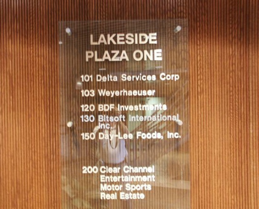 Lakeside Plaza One.  Tenant names on glass plaque.