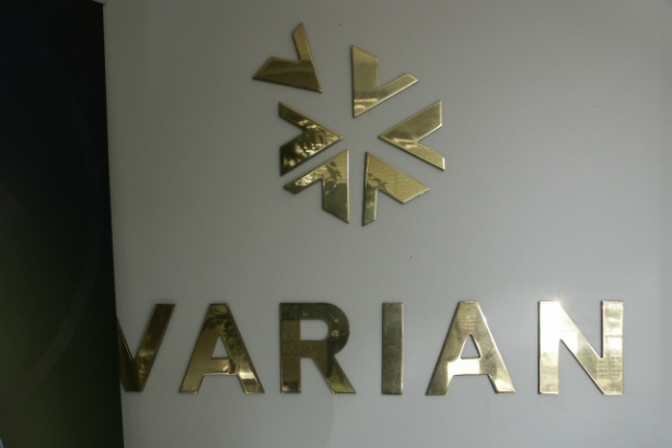 Varian.  Dimensional high gloss gold lettering.