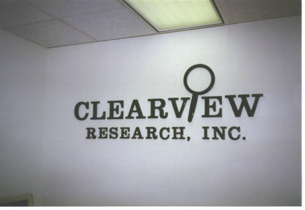 Clearview.  Dimensional receptionist area sign.