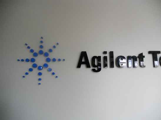 Agilent.  Dimensional acrylic logo and name in receptionist area.