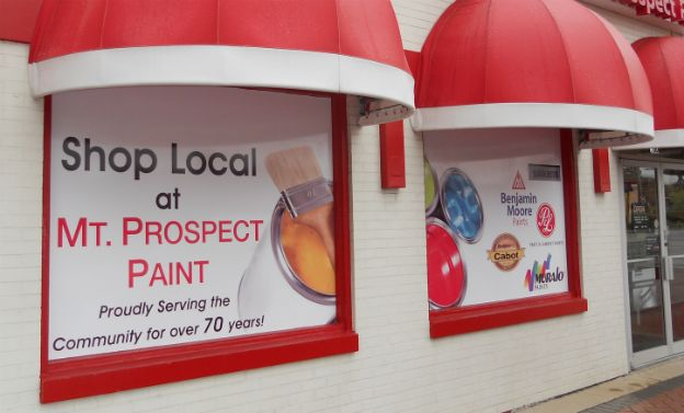 Mt. Prospect Paint.  An Arlington Signs original design.  Windows can act like billboards with full color vinyl panels applied to the surface.