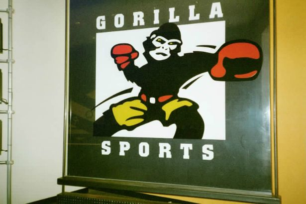 Gorilla Sports Chicago.  This is an 8ft x 8ft graphic on glass!