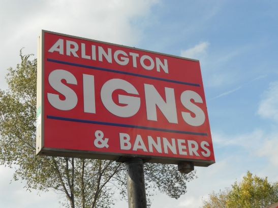 Arlington Signs and Banners.  Our storefront lightbox with acrylic face and custom logo.