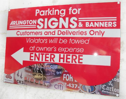 Arlington Signs and Banners.  We created this Aluminum sign to go along with our storefront full color digital images and still be informative for our customers.
