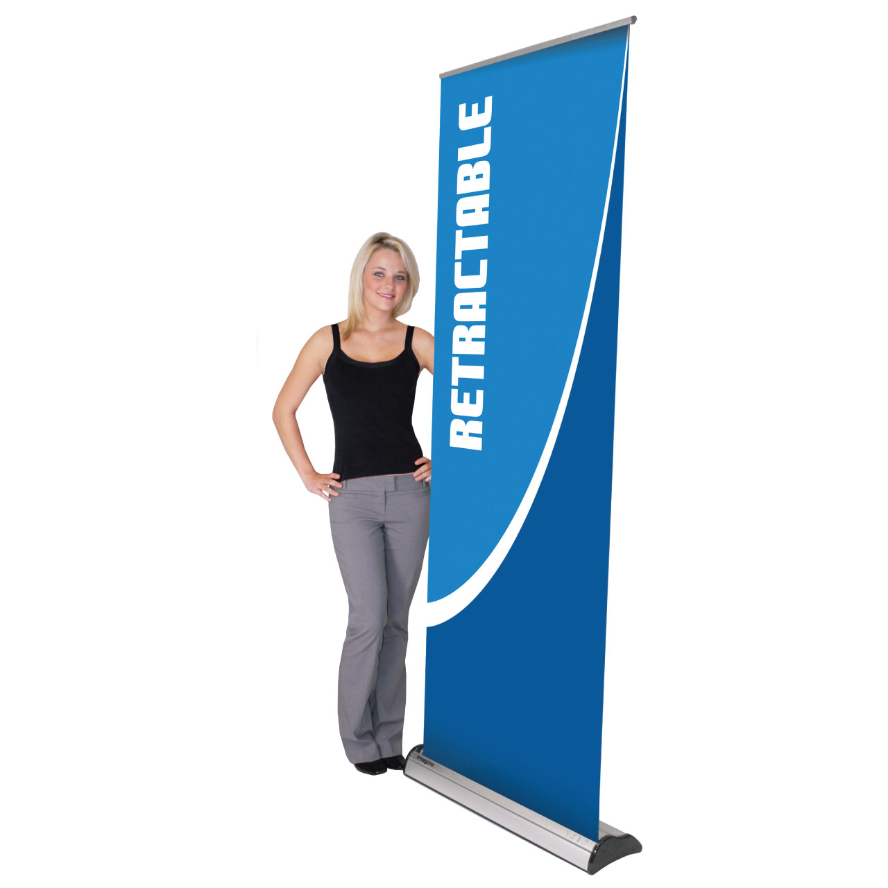 Retractable banners are portable and effective. Combine with a graphic image for maximum pop!