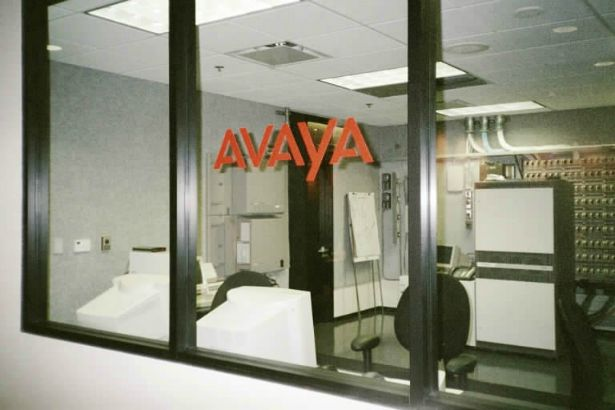 Avaya.  Window lettering adds an element of design to the interior of your office.