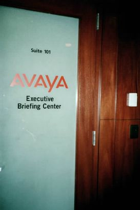 Avaya.  Combining vinyl colors can make a logo even more effective.