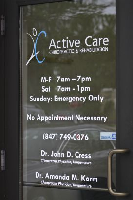 Active Care Chiropractor Arlington Heights.  Put hours and logo directly on your door.