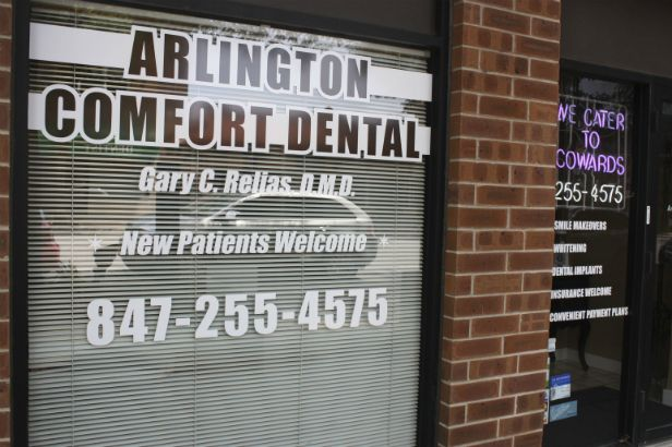 Arlington Comfort Dental Arlington Heights.  White outlines help a logo pop.